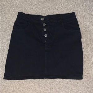 john galt black button skirt